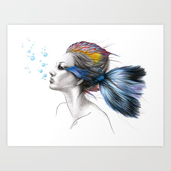 When I was a fish Art Print