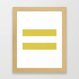 MUSTARD & WHITE STRIPE Framed Art Print