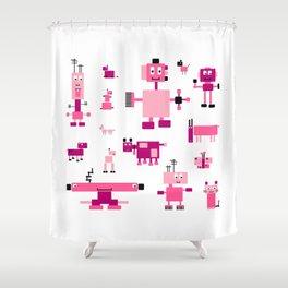 Robots-Pink Shower Curtain