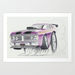 Ford XY Falcon Burn out by Glens Graphix Art Print
