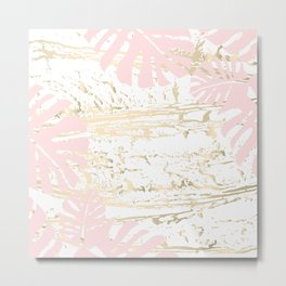 Gold blush tropical monstera leaves Metal Print