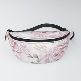 Coral Watercolor Roses Fanny Pack
