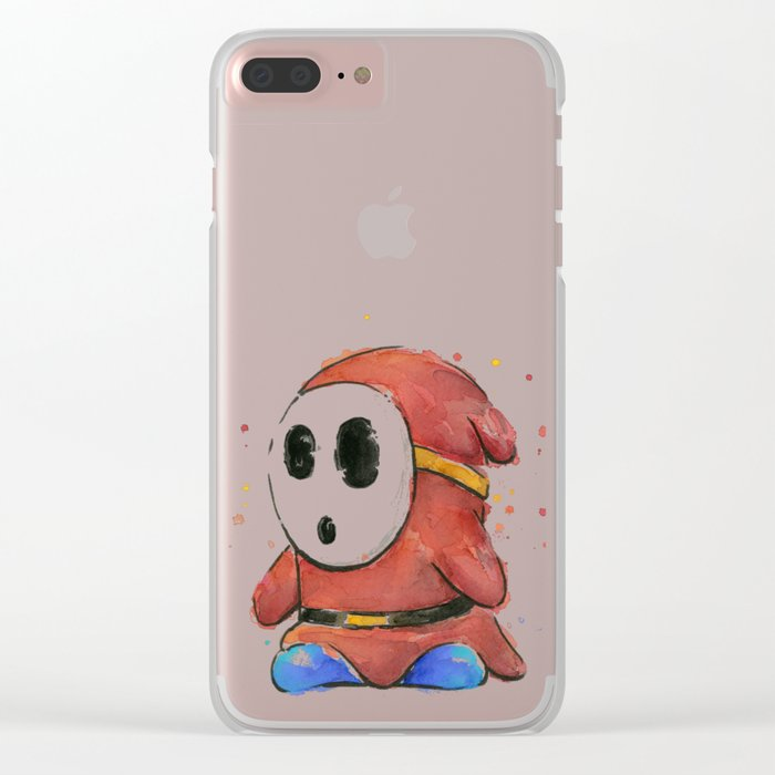 Shy Guy Watercolor Mario Art Clear iPhone Case