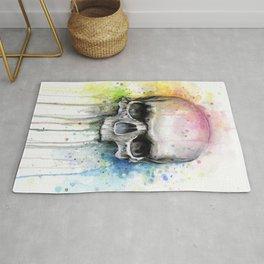 Skull Rainbow Watercolor Rug