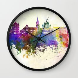 Lodz skyline in watercolor background Wall Clock