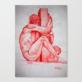 Monochrome Fear - watercolour human anatomy Canvas Print