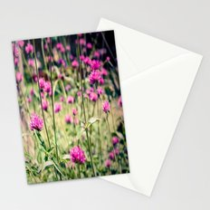 Pink Thistle Flowers in Field Stationery Cards