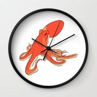 octopus Wall Clocks featuring Octopus by Jemma Salume