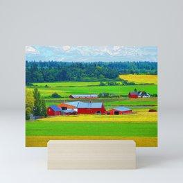Red Barns on Whidbey Island Washington Mini Art Print