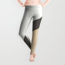 Brown Tan White Diagonal Stripe Pattern 2021 Color of the Year Urbane Bronze and Accent Shades Leggings