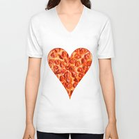 pizza V-neck T-shirts featuring PIZZA by Good Sense