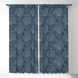 eyes adorned - stone blue woven Blackout Curtain