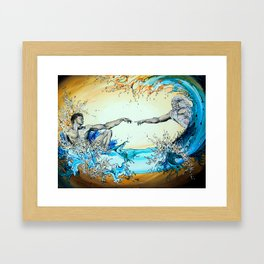 Adam Reaching Out To God In Water Framed Art Print