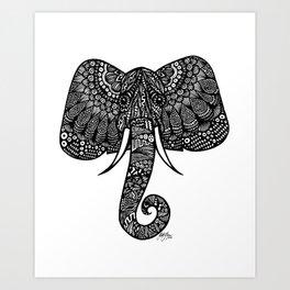 Zentangle - Elephant  Art Print