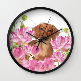 Dog in Field of Lotos Flower Wall Clock