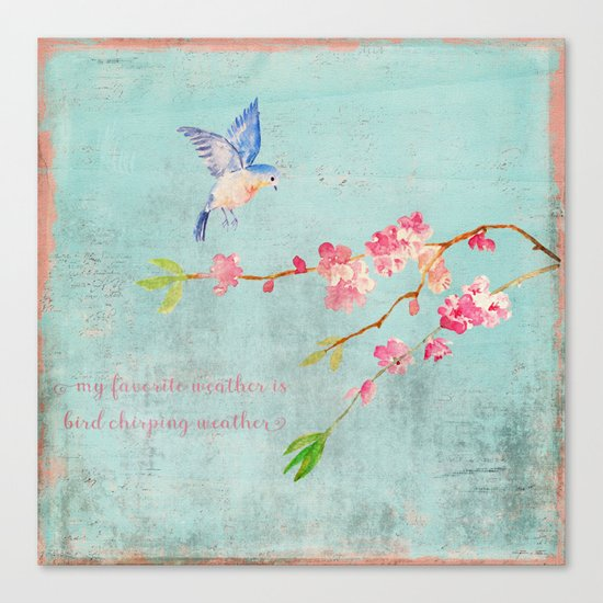 My favorite weather - Romantic Birds Cherryblossoms and Spring Typography on aqua Canvas Print