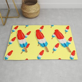 Red White and Blue Rocket Pop Pattern Rug