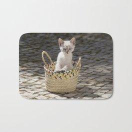 kitten in a rustic basket, Portugal Bath Mat