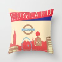 london Throw Pillows featuring LONDON by famenxt