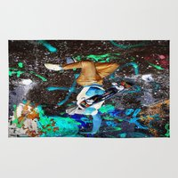 skateboard Area & Throw Rugs featuring skateboard street by  Agostino Lo Coco