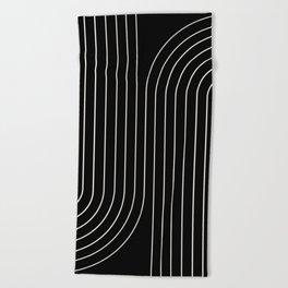 Minimal Line Curvature - Black and White II Beach Towel