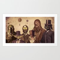 gold Art Prints featuring Victorian Wars  by Terry Fan