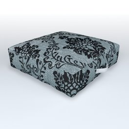 Teal black damask pattern, art nouveau pattern, victorian pattern, vintage pattern, elegant,chic,bea Outdoor Floor Cushion