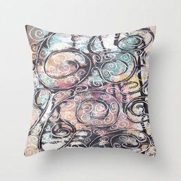 Sketchy Multicolor Swirls Throw Pillow