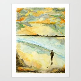 Orange Sunset Surf Art Print