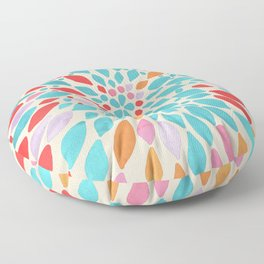 Radiant Dahlia - teal, orange, coral, pink watercolor pattern Floor Pillow