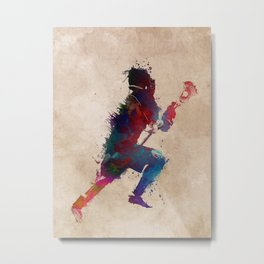 Lacrosse player art 1 Metal Print