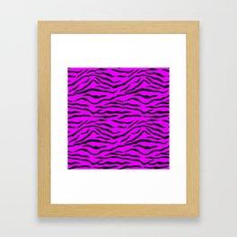 Hot Pink Neon and Black Tiger Stripes Framed Art Print