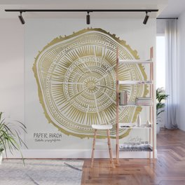 Paper Birch – Gold Tree Rings Wall Mural