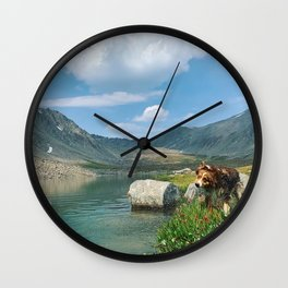 Riley In The Mountains Wall Clock