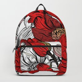 RED PEONIES PATTERN Backpack