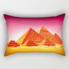 Pyramids At Giza Pink Sunset Rectangular Pillow