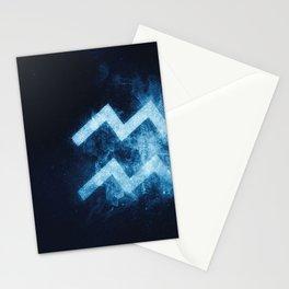 Aquarius Zodiac Sign. Astrology women night sky background Stationery Cards