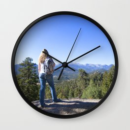 Watercolor People in Nature, OS, Adult 30, Gem Mountain, RMNP, Colorado Wall Clock