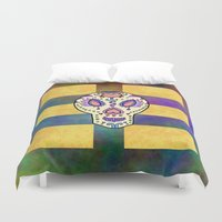 sugar skull Duvet Covers featuring Sugar Skull by Linda Tomei