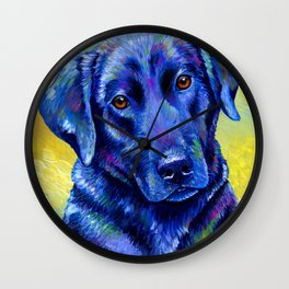 Colorful Labrador Retriever Dog Wall Clock