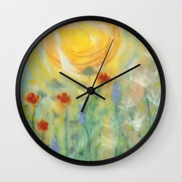 Sunny Day with Flowers Wall Clock