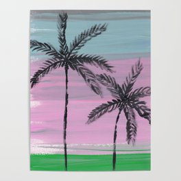 two palm trees sunset sky Poster