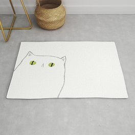 White Cat Face Rug