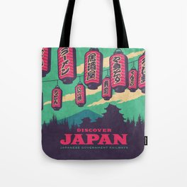 Japan Travel Tourism with Japanese Castle, Mt Fuji, Lanterns Retro Vintage - Green Tote Bag