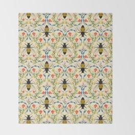 Bee Garden - Cream Throw Blanket