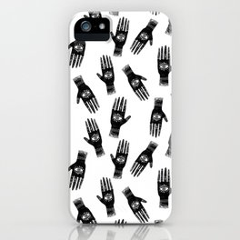 Linocut hand and eye black and white minimal modern pattern iPhone Case