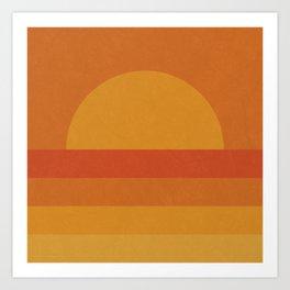 Retro Geometric Sunset Art Print