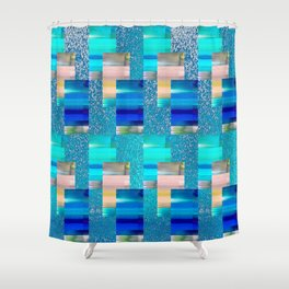 Geometric Glitter Rectangle Dimension in Cool Hues Shower Curtain