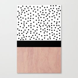 Pink marble and dots Canvas Print