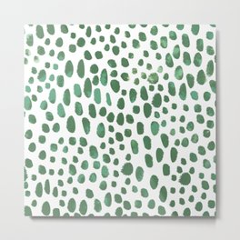 Green Watercolour Spots Metal Print